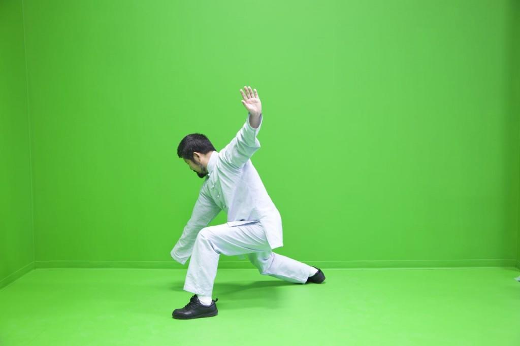 """陈中华老师陈式太极拳实用拳法一路""""击地捶""""拳式。"""