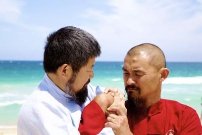 2015年陈中华和萧剑文在澳洲帕斯斯嘎巴露海滩拳照