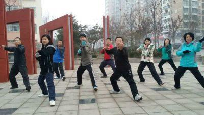 五莲学员集体练拳